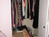 Before: Standard closet didn't allow student anywhere to store her shoe collection