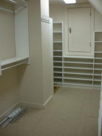 After: lots of shelving to store the home owner's shoe collection