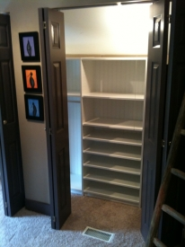 After: We created a custom closet that fit the odd attic space perfectly