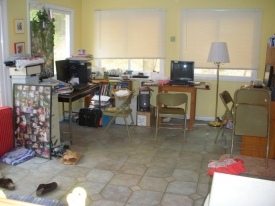 Before: a very cluttered family workspace wasn't appealing to Mom, who wanted to spend peaceful time on her sunporch