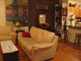 After:  One half of the apartment became a peaceful retreat.  The other half housed their office, recording studio and musical items