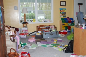 Before:  A mismatch of old furniture made it difficult for a little girl to keep her space organized.